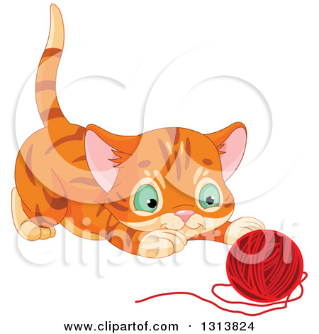 Clipart of a Cute Tabby Ginger Kitten About to Pounce on a Ball of.