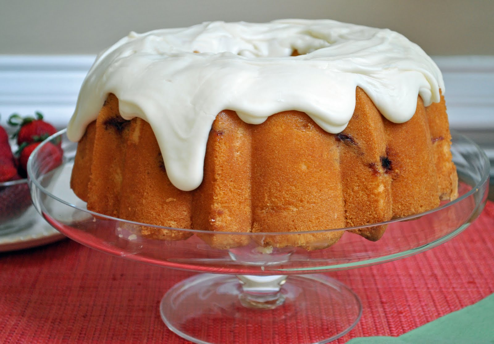 Ryan Bakes: Strawberry Pound Cake with Cream Cheese Glaze.