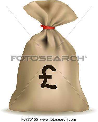 Clipart of vector of full money sack of pounds k4934891.
