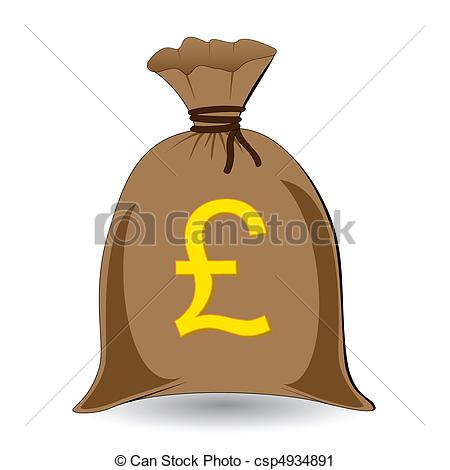 Vector Clip Art of vector of full money sack of pounds csp4934891.
