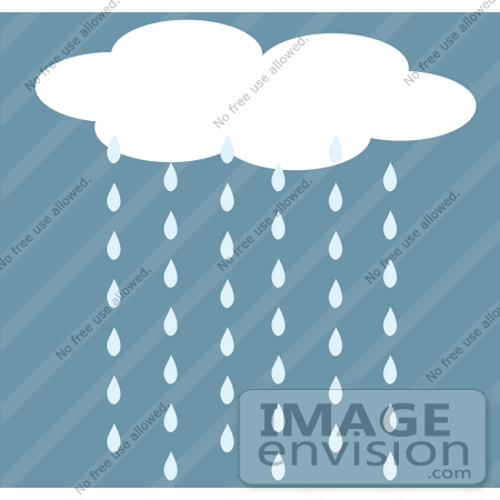 Clip Art Graphic of Rain Cloud Pouring Water Down.