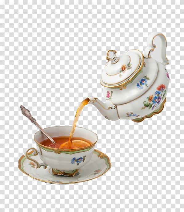 Floral ceramic teapot pouring tea in teacup on saucer.