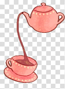 Watchers, pink teapot pouring on teacup transparent.