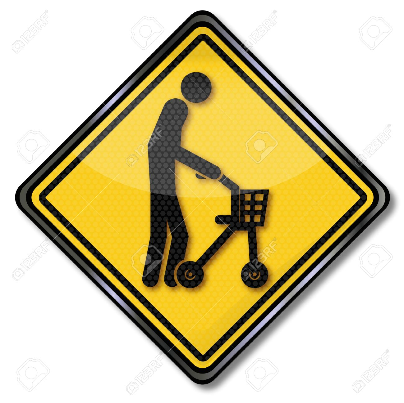 Sign Old Man With Walker Royalty Free Cliparts, Vectors, And Stock.