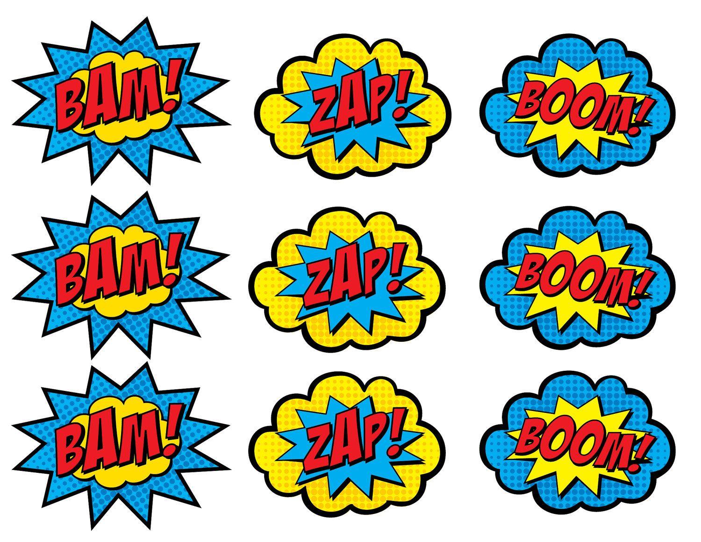 Superhero Cupcake Toppers • Boom, Bam, Zap, Pow, and Pop.