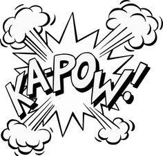 zap pow super hero words black and white clip art.