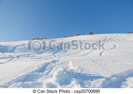 Stock Photographs of Fresh ski tracks in powder snow.