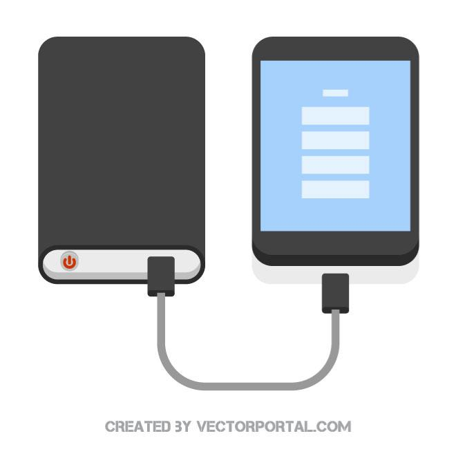 Power bank and a smartphone.