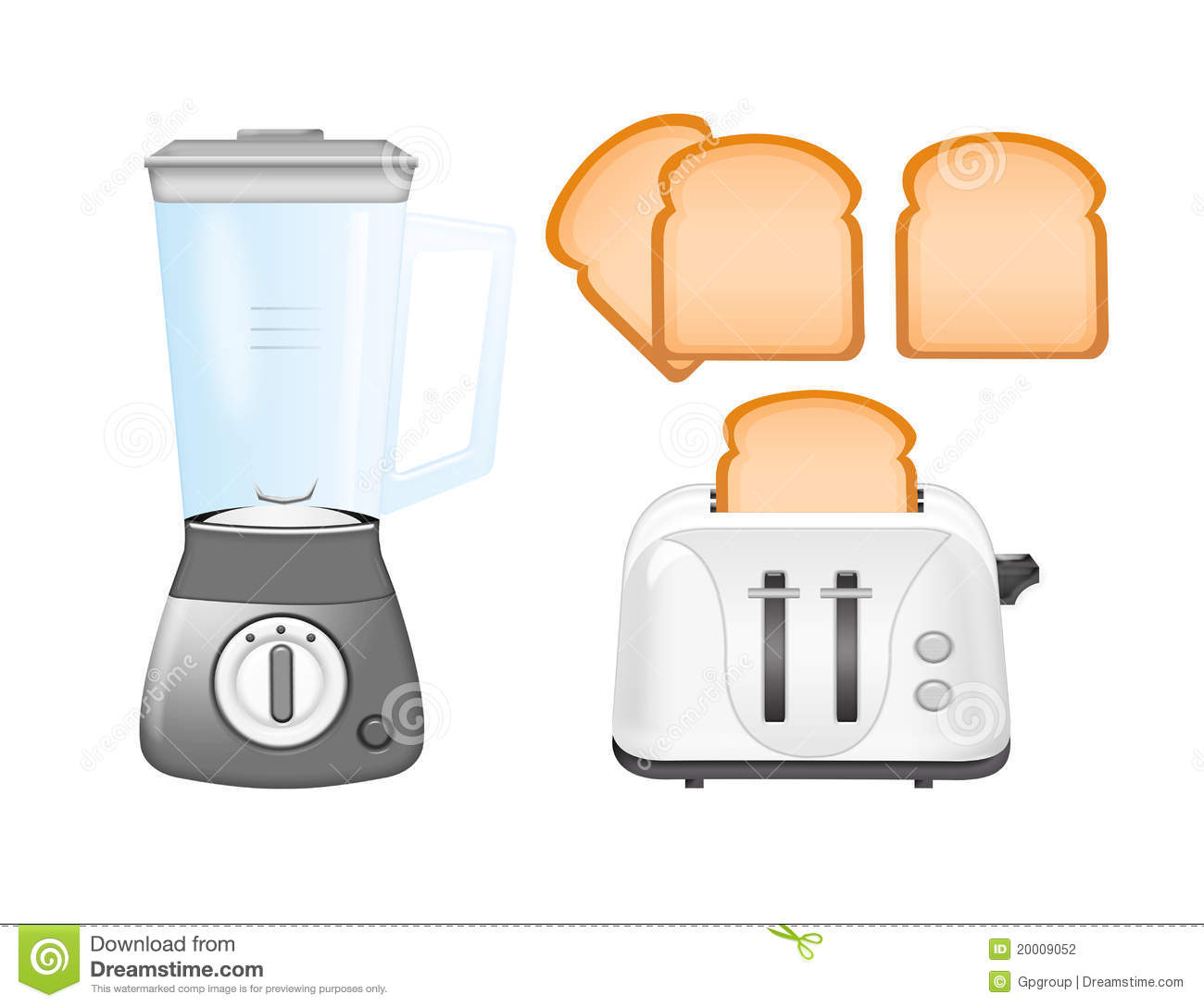 Blender, Toaster And Bread Stock Photography.