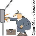 Clipart Outlined Electrician Touching A Power Box.