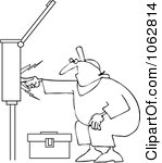 Clipart Electrician Touching A Power Box.