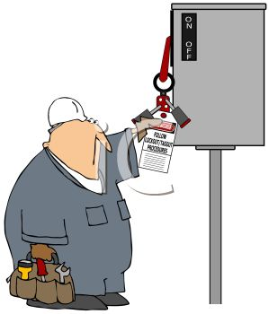 Royalty Free Clipart Image: Workman Reading Instructions on a.