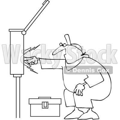 Outlined Electrician Touching A Power Box.
