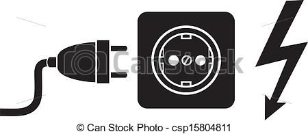 Vector of power plug, power cords, plug cable.