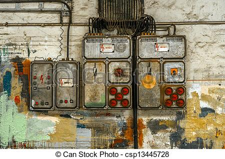 Stock Photo of Industrial fuse box on the wall closeup photo.