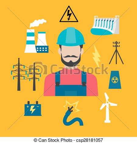 Clipart Vector of Electricity industry concept with power.