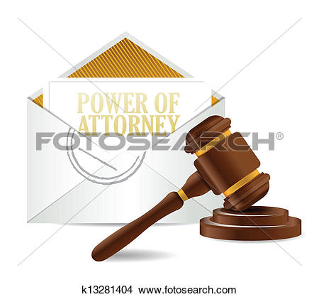 Clipart of power of attorney and gavel k13281404.