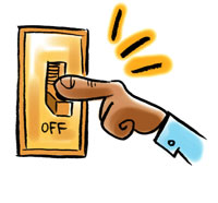 Turn off light switch clipart.