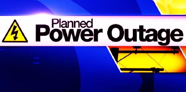 Planned Power Outage Reminder for Select Areas.