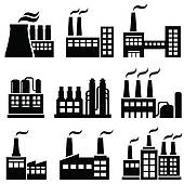 Clipart of Power plants, factories and industrial buildings.