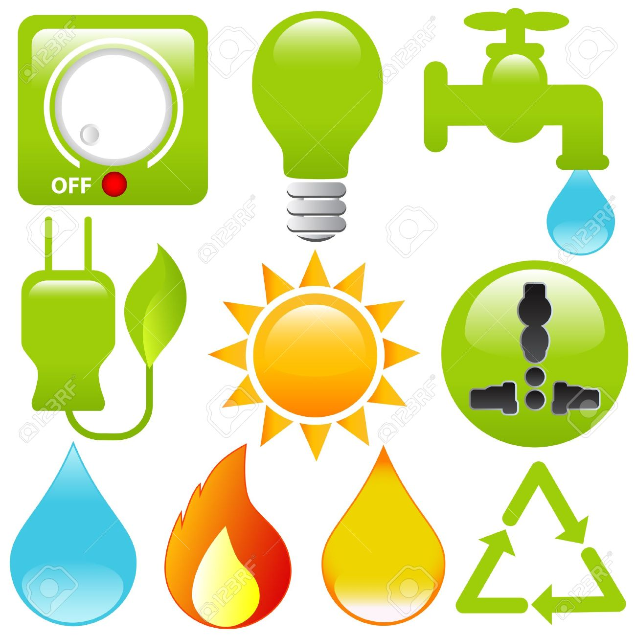 Icons: Energy Saving, Water, Electricity, Solar Power Royalty Free.