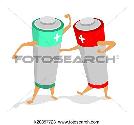 Clipart of Batteries in a power fight or struggle k20357723.