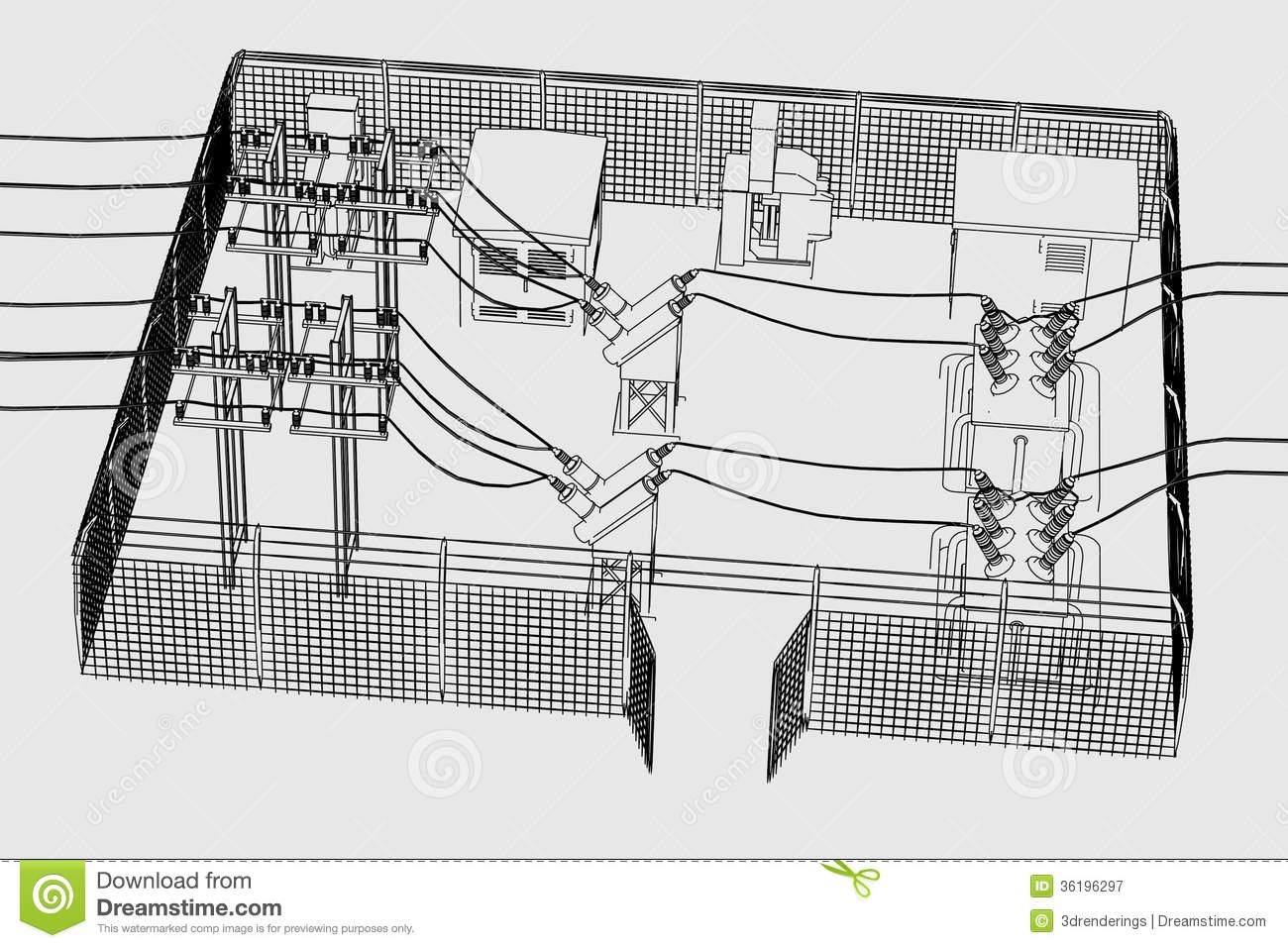 Power Substation Stock Illustrations.