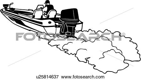 Clip Art of , boat, power, power boat, speed, sport, motor.