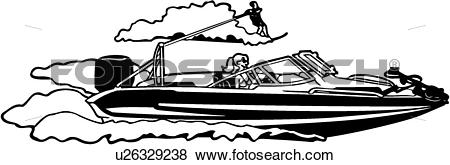 Clip Art of , boat, ocean, power, power boat, speed, sport, water.