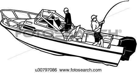 Clip Art of , boat, fishing, power, power boat, shore, sport.