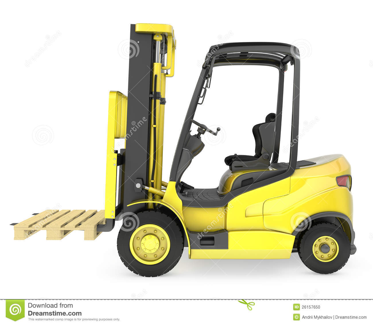 Yellow Fork Lift Truck, With A Pallet Stock Photo.
