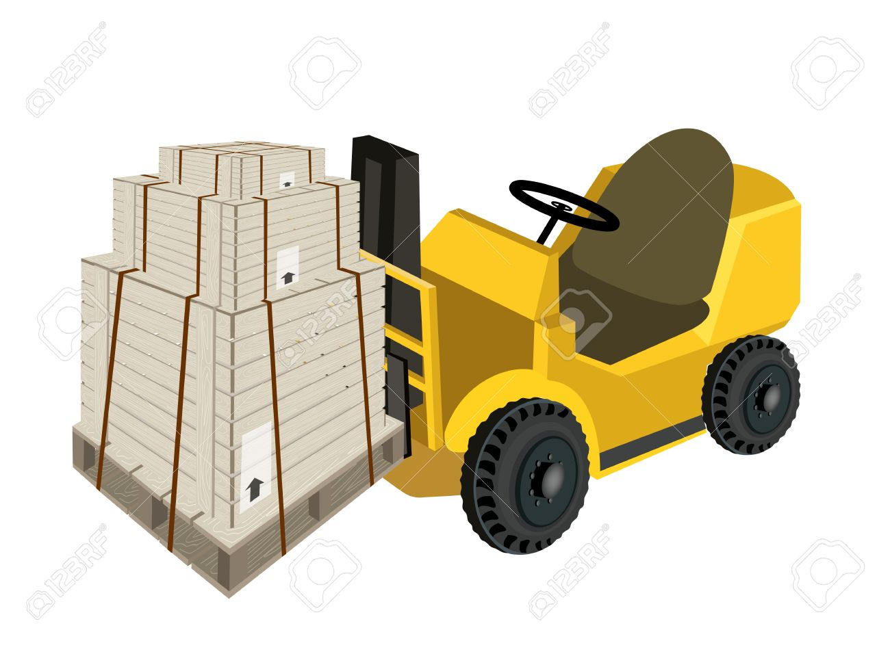 Powered Industrial Forklift, Fork Heavy Machine, Fork Truck Or.