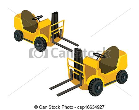 Vector Illustration of Two Powered Industrial Forklift Trucks on.