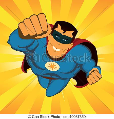 Clipart Vector of Flying Superhero.