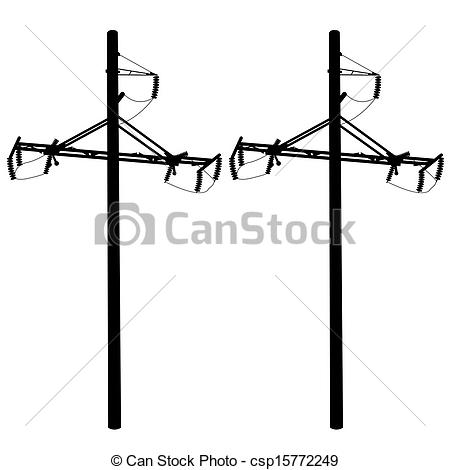 EPS Vector of Silhouette of high voltage power lines. Vector.