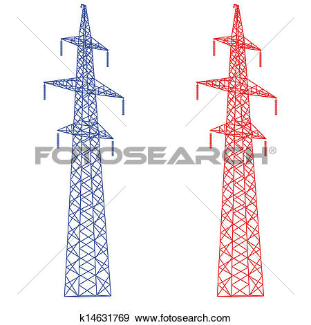 Clip Art of Silhouette of high voltage power lines. Vector.