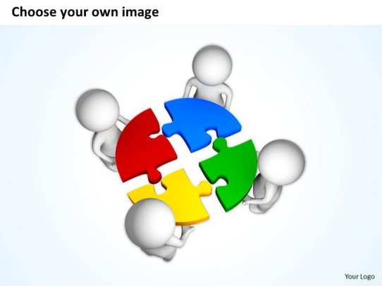 Business People Clip Art 3d Men Quarter Colorful Puzzle.