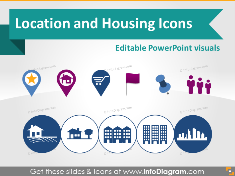 Location Map Marker Building House Logistics Symbols PowerPoint icon.