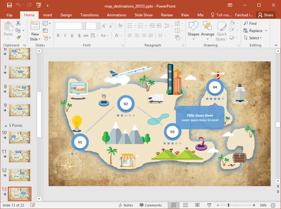 Animated Map Destinations PowerPoint Template.