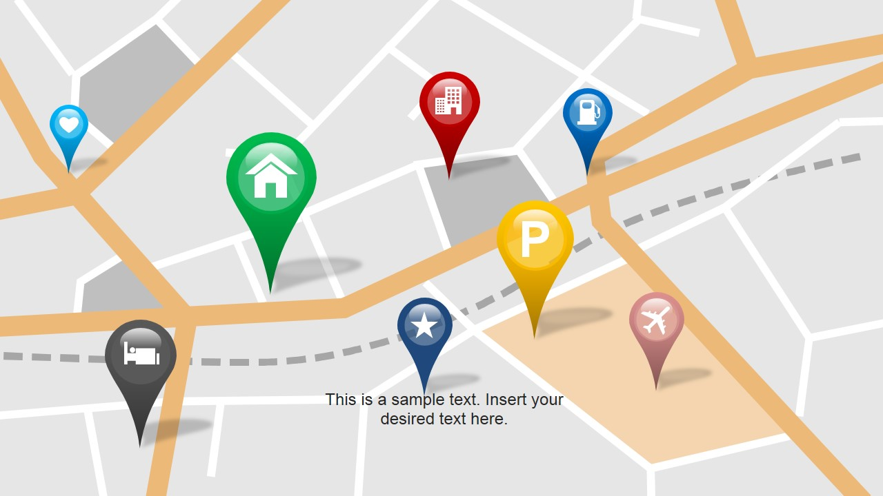 Map with GPS Icons PowerPoint Template.