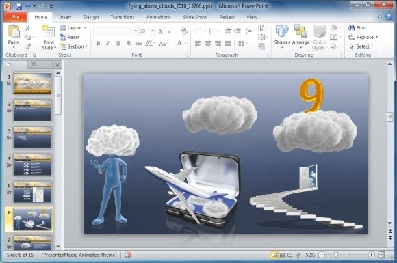 Animated Cloud Template For PowerPoint.