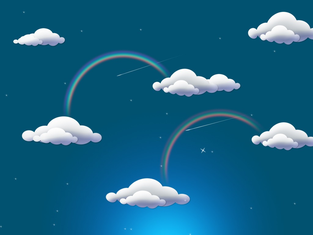 Rainbow Clouds Power Point Backgrounds For PowerPoint.
