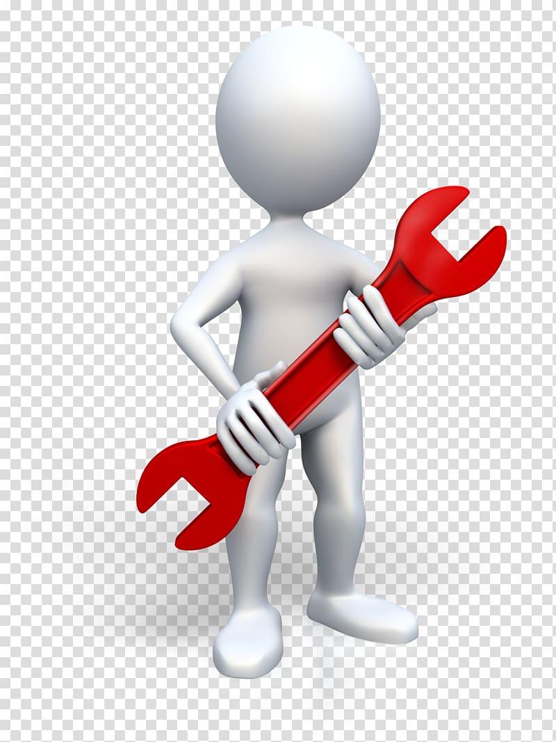 Male holding combination wrench , Stick figure Microsoft.