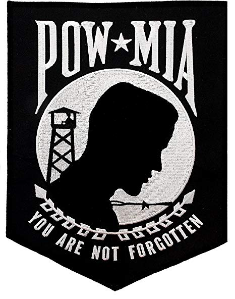 Large POW MIA Embroidered Patch Iron.