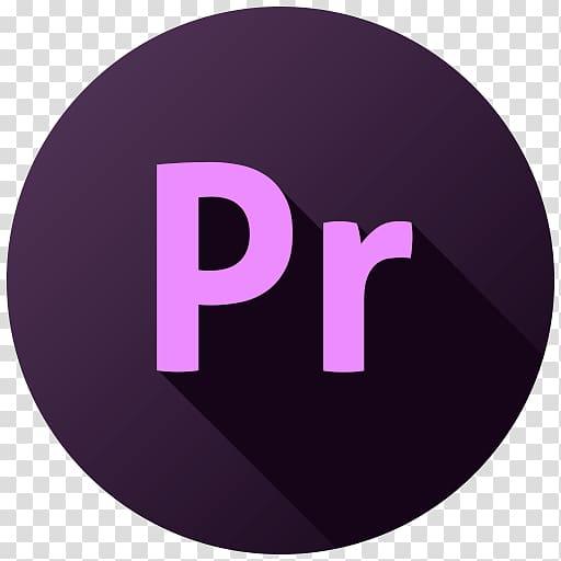 Pr logo, purple text brand, Adobe Premiere transparent.
