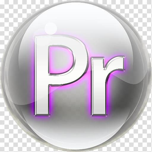 Orb Icon, ORB_Adobe_premiere_, round gray and purple Pr icon.