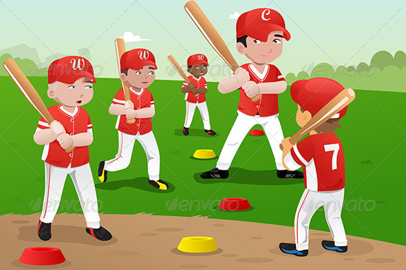 Practicing sports clipart.