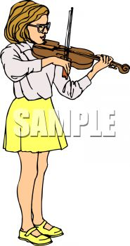 Girl Practicing on Her Violin.