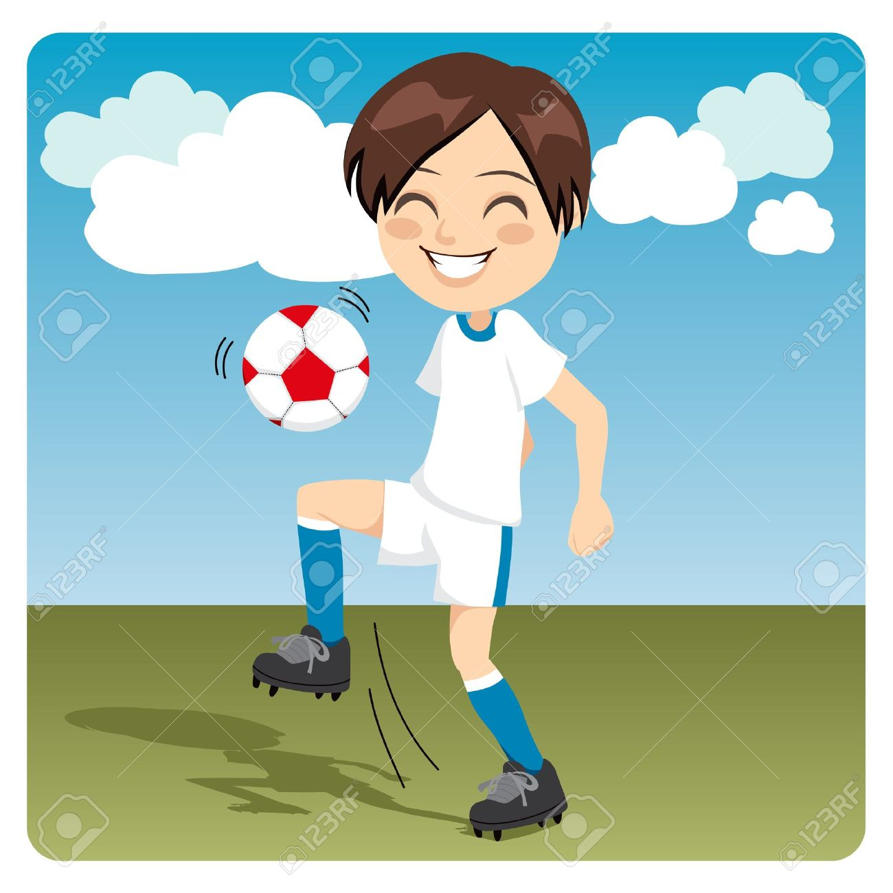 Kid Practicing Soccer Knee Kicks On The Field Royalty Free.