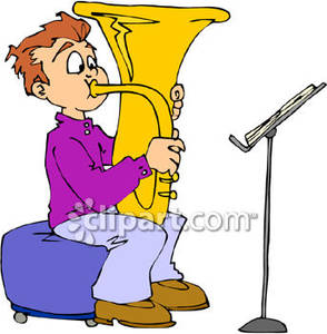 Boy Practicing the Tuba Royalty Free Clipart Picture.